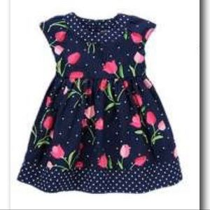 Gymboree Bright Tulip Dress Sz 4T Navy Floral
